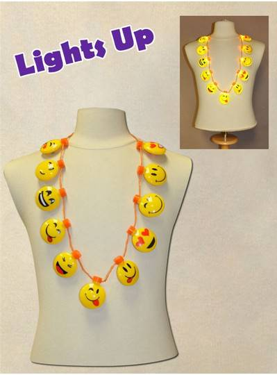 Eleven Blinking Smiley Faces Necklace