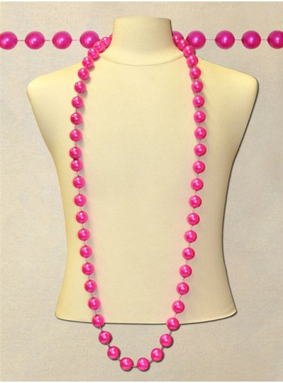 """60"""" Inch 22mm Hot Pink Pearl Bead"""