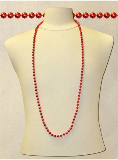 "48"" Inch 8mm Red Metallic Beads"