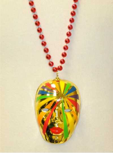 "36""10mm Large Red & Gold Lady Rainbow Mask"