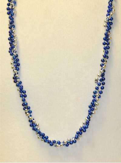 "39"" Twist Beads Royal Blue & Silver"