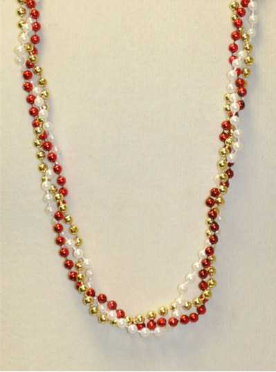 """39"""" Twist Beads Red, White & Gold"""