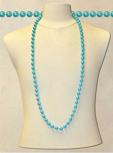 "48"" Inch 12mm Blue Pearl Bead"