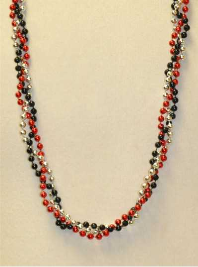 "39"" Twist Beads Red, Black & Silver"