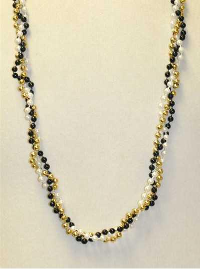 "39"" Twist Beads Black, White & Gold"