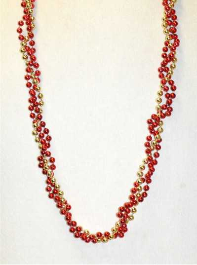 """39"""" Twist Beads Red & Gold"""