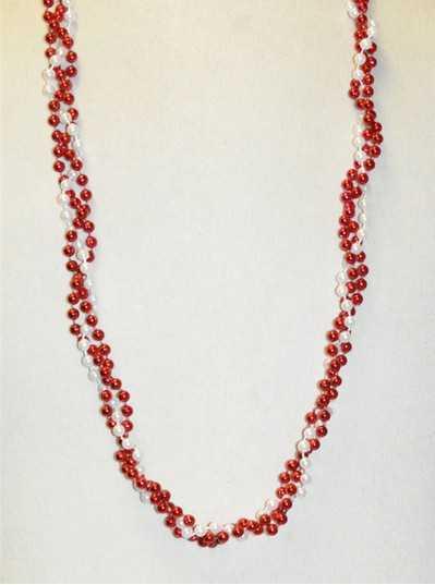 "39"" Twist Beads Red & White"
