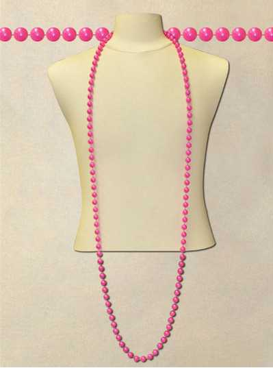 """72"""" Inch 12mm Hot Pink Pearl Bead"""