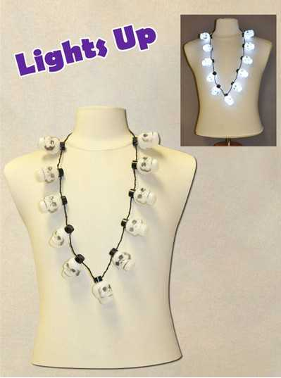 Necklace with 11 Blinking Skulls