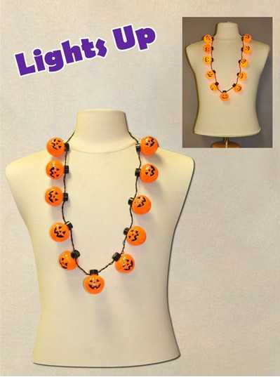 Necklace with 11 Blinking Pumpkins