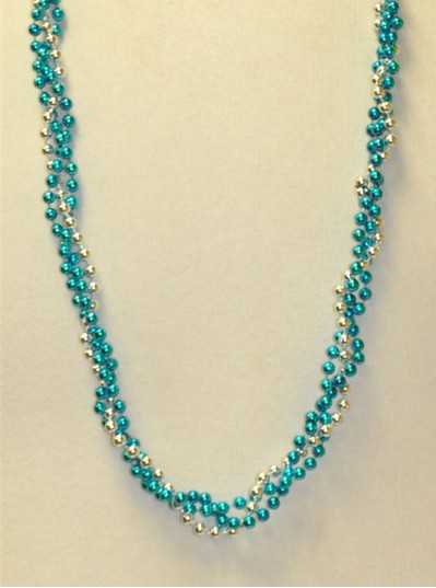 """39"""" Twist Beads Turquoise & Silver"""