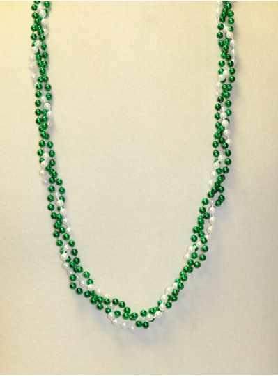 "39"" Twist Beads Turquoise & Silver  - Dozen - 12 N"