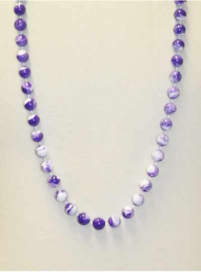 """42"""" Inch 14mm Purple & White Marble Beads - DOZEN-"""