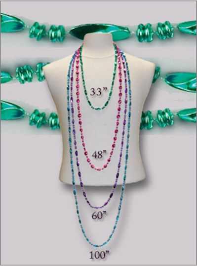 """48"""" Metallic Swirls Green - Dozen - 12 Necklaces -"""
