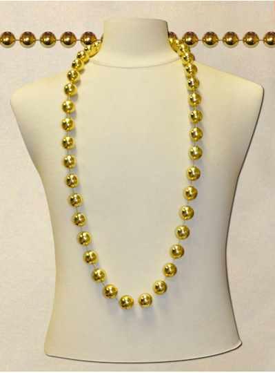 """60"""" 12mm Round Metallic Gold - DOZEN- 12 Necklaces"""