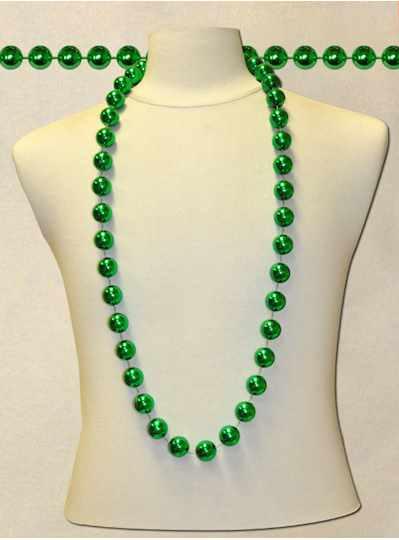 """48"""" 22mm Round Metallic Green - Dozen- 12 Necklace"""