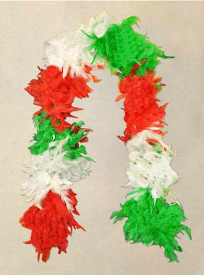 Feather Boa Red, White & Green - Copy