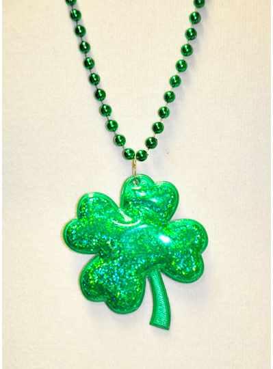 "33"" 7MM Green Prism Clover On Green Metallic Bead"