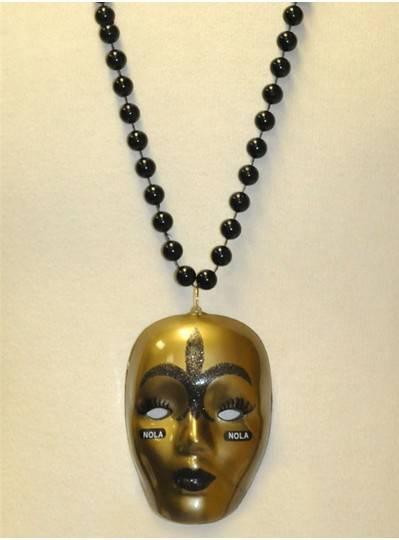 "36"" 10MM Large Black and Gold Nola Mask"
