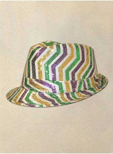 Purple, Green & Gold Fedora with Sequin Stripes