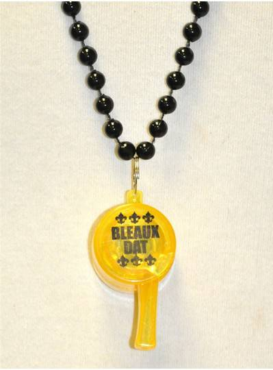 "33"" 7MM Black Bead with Yellow LED Whistle"